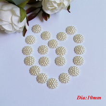 150Pcs/lot 10mm Imitation Pearls Half Round Flatback Flower Beads Wedding Cards Embellishments DIY Decoration Pearl