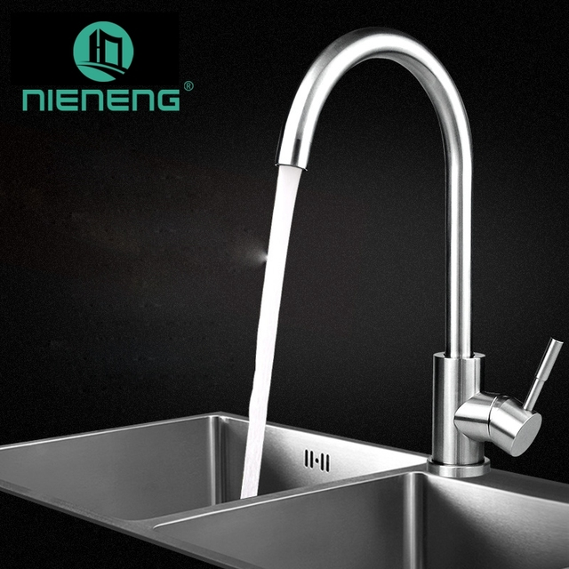 Nieneng 304 Stainless Steel Basin Kitchen Faucet Sink Taps ...
