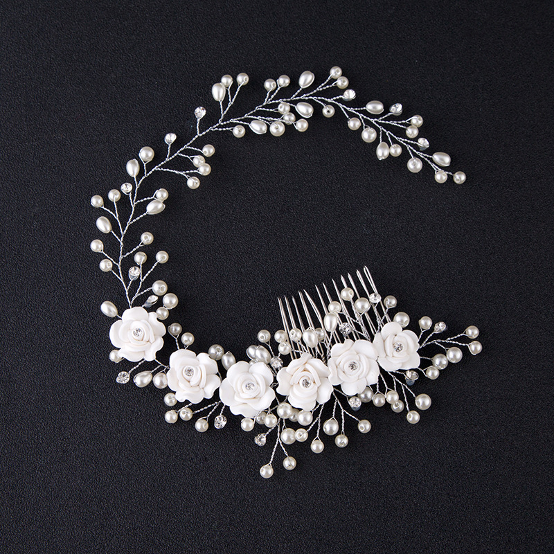 Hair Accessories For Women Pearl Flower Hairband Wedding Bride Tiaras Crown Length Headband Hair Pin Hair Jewelry Hair Comb