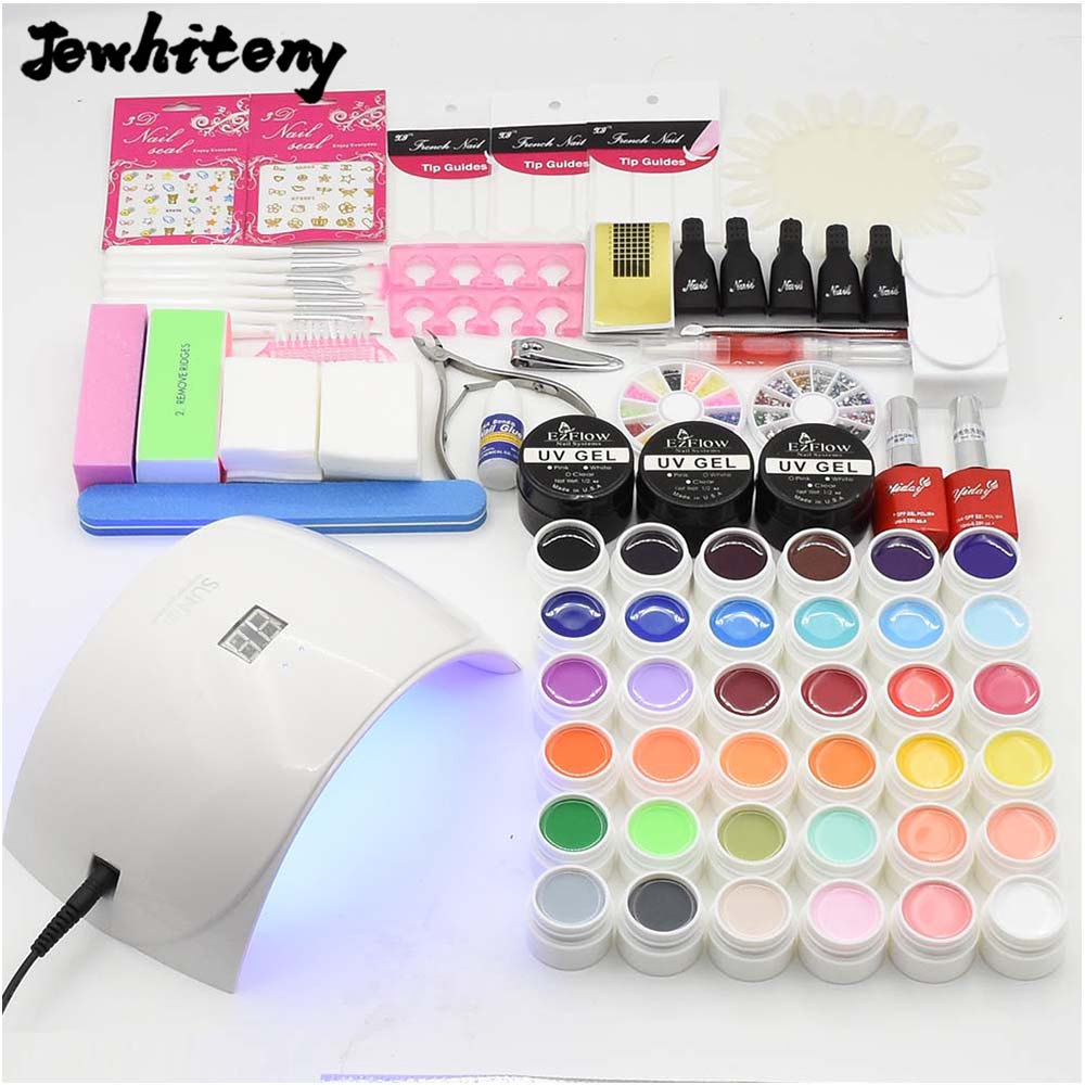 nail art set UV LED LAMP 36 color UV gel varnishes nail polish solid extension gel