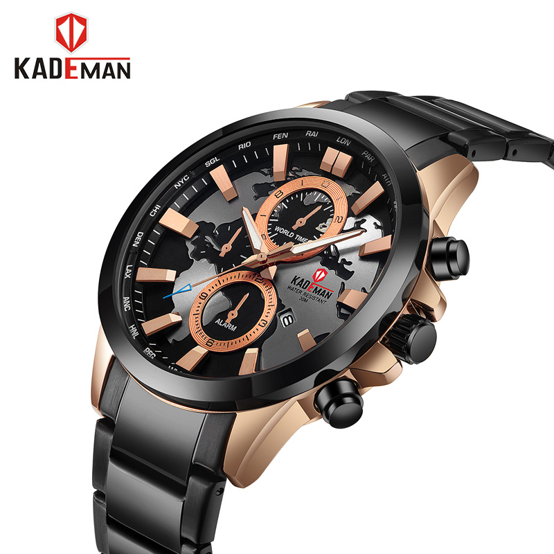 KADEMAN Brand Men Watches Luxury Sport Casual Quartz Waterproof Watches Men's Stainless Steel Wristwatches Relogio Masculino