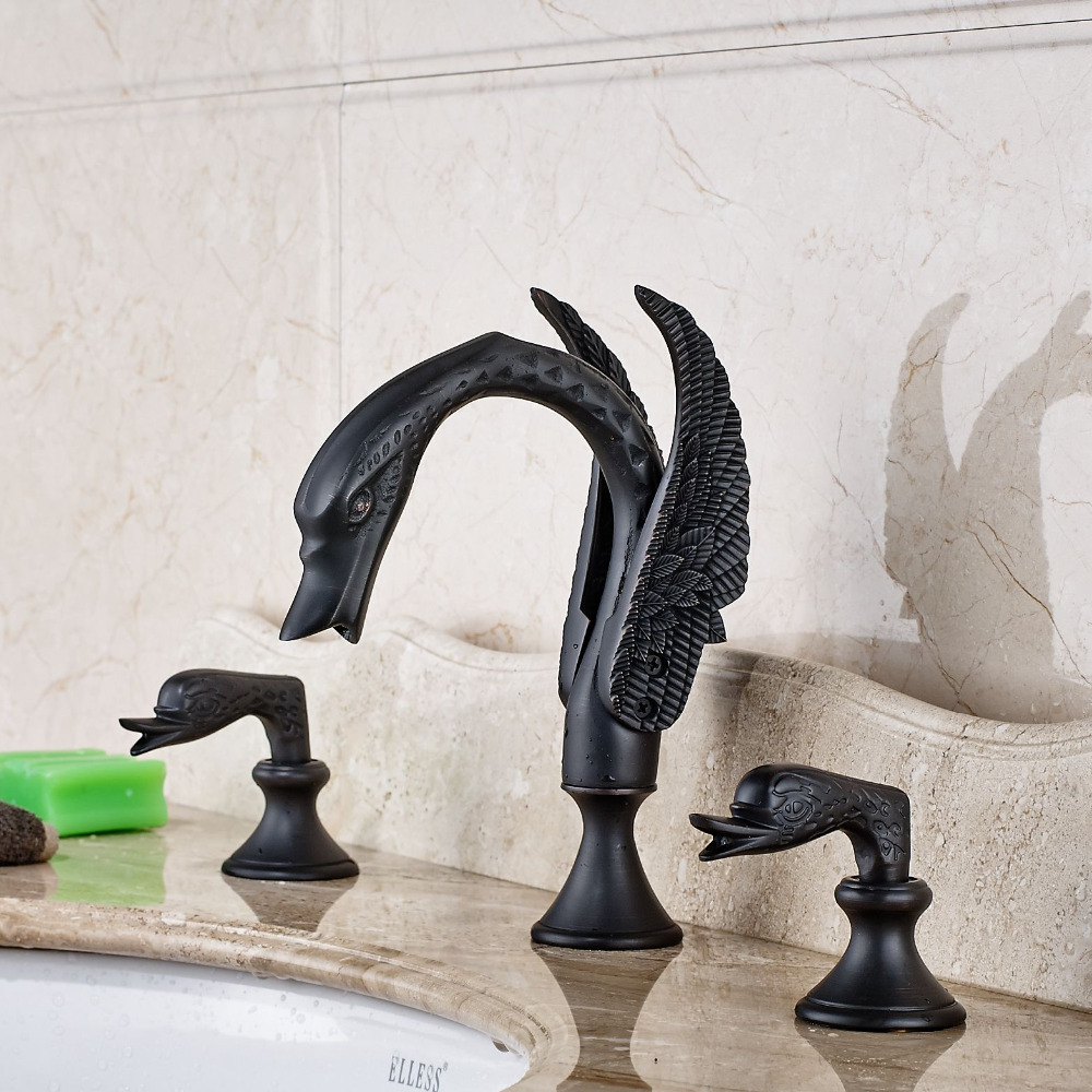 Swan Oil Rubbed Bronze Widespread Basin Faucet Bathroom Sink Mixer Tap allen roth brinkley handsome oil rubbed bronze metal toothbrush holder