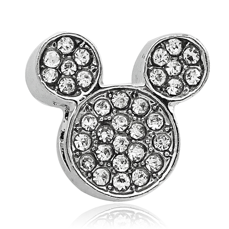 Free shipping 1pc Silver Crytsal Mickey Bead Charms Fits European Pandora Charm Bracelets necklaces jewelry material