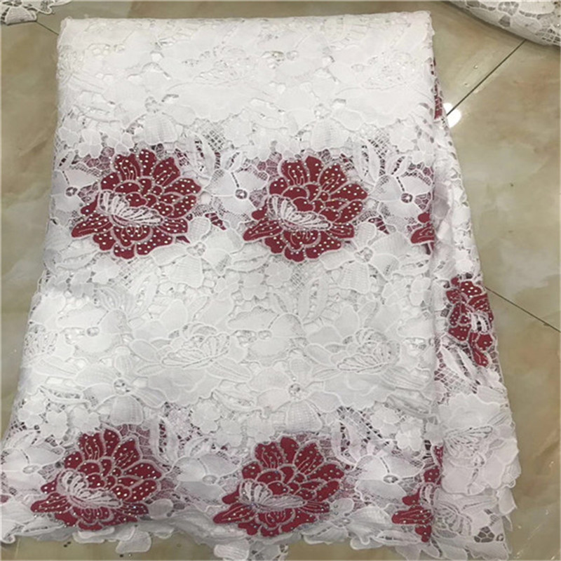 New African Lace Fabrics 5Yards Snow White Guipure Lace Fabric 2018 High Quality African Cord Lace Fabric For Wedding Dresses