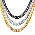 U7 316L Stainless Steel Chain Men Jewelry Wholesale Black gun/Yellow Gold Plated Cuban Link Chain Men Necklace Wholesale N103