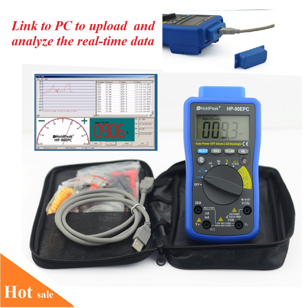 HoldPeak HP-90EPC Multimetro Digitais USB Multimeter Digital Temperature Instruments Capacitance Meter Data USB with Data Hold holdpeak hp 90epc multimetro digital usb multimeter dmm auto range tester lcd ammeter capacitance meter pc data transmission