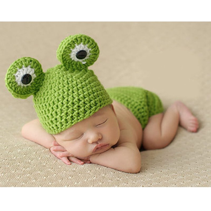Newborn Baby Photography Prop Infant Photo Props Frog Crochet Knitted Sets Beanie Hats with Short Warm Child Toddler Clothes Set