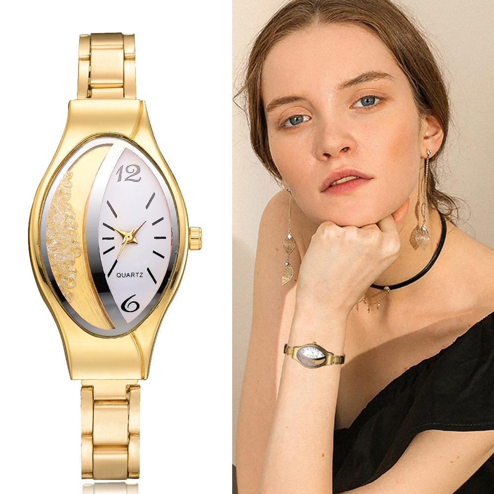 Women Bracelet Watch Gold Fashion Luxury Stainless Steel Wrist Watch Rhinestone Ellipse Creative Ladies Dress Quartz Watch