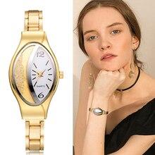 Frauen Armband Uhr Gold Mode Luxus Edelstahl Armbanduhr Strass Ellipse Kreative Damen Kleid Quarzuhr