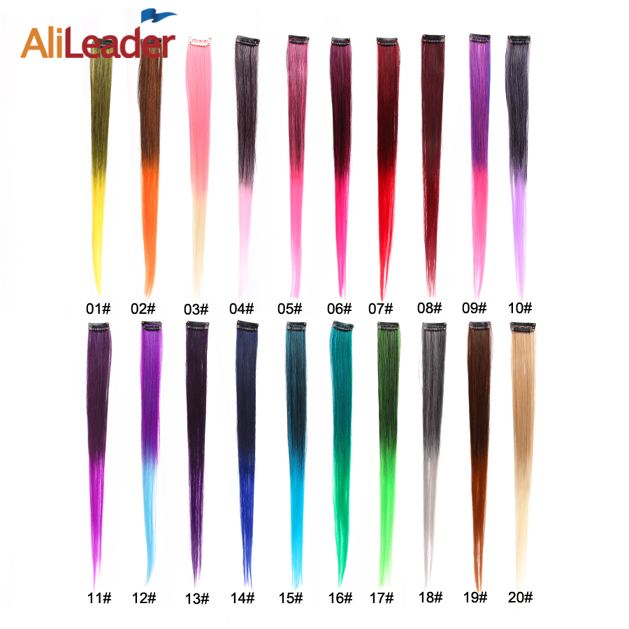 Alileader Clip In One Hairpiece Ombre 20 Colors 50Cm Long Straight Synthetic Hair Extension Clip On Pink Grey 613# Red Blue 2