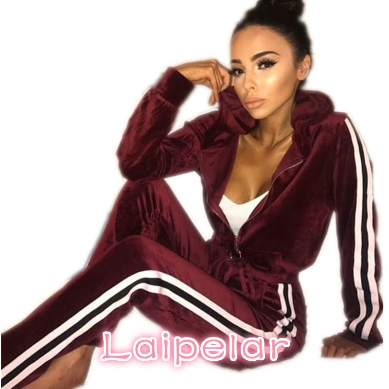 Laipelar Strip Spliced Velvet Tracksuit Winter Two Piece Set Top and Pants Full Sleeve Casual Women Sets Velour Sweatsuit D35BA