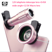 Cheapest prices 1 X 3 in 1 HD 12x Phone Telephoto Telescope Lens+0.45X Wide-Angle lens+12.5X Macro Lens Kits Universal Clip for Samsung s6 s5 s7