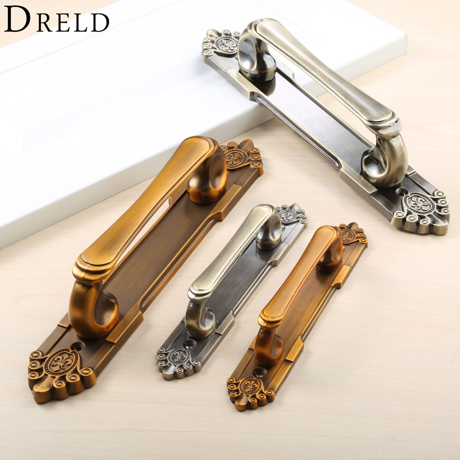 DRELD Antique Furniture Handles European Vintage Alloy Door Handles Drawer Pull For Cabinet Wardrobe Cupboard Bronze Knobs 1 pair 96mm vintage furniture cupboard wardrobe handles and knobs antique bronze alloy kitchen cabinet door drawer pull handle