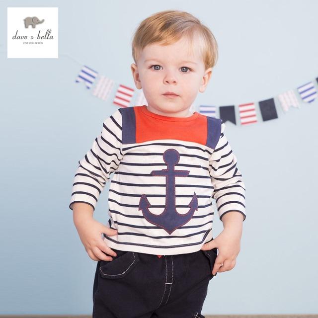 DB1875 dave bella outono primavera menino de algodão t-shirt infantil roupas toddle meninos da camisa de t top de alta qualidade âncora impressão stripe