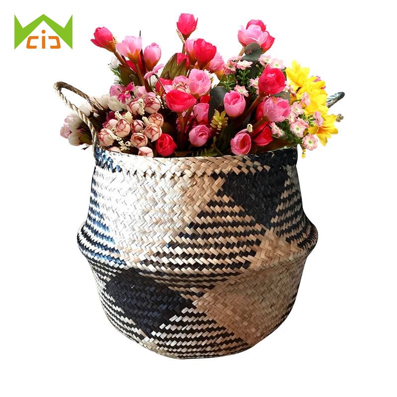 WCIC Hanging Basket Flower Storage Wicker Basket Seagrass Folding Basket Bathroom Basket Patchwork Flower Pot Garden Planter
