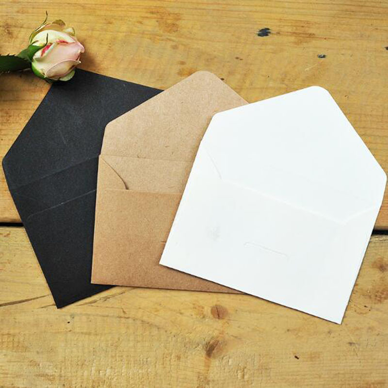 50ks / lot Black White Craft Paper Envelopes Vintage European Style Envelope for Card Scrapbooking Gift