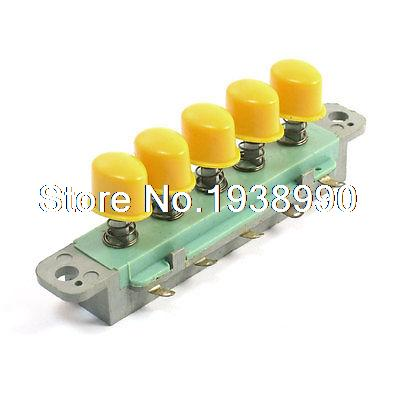 Electric Fan 5 Piano Keys Interlock Yellow Push Button Switch AC 250V 1A акустика центрального канала paradigm studio cc 490 v 5 piano black