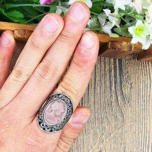 Овальный леди queen камея Кольца для Для женщин Винтаж полые цветок кольца старинное серебро покрытием коктейль Вечерние Модные украшения