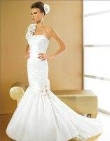 Livraison gratuite nouvelle mode 2018 femme designer élégant une épaule blanc longue en taffetas sirène robes de mariée avec la veste