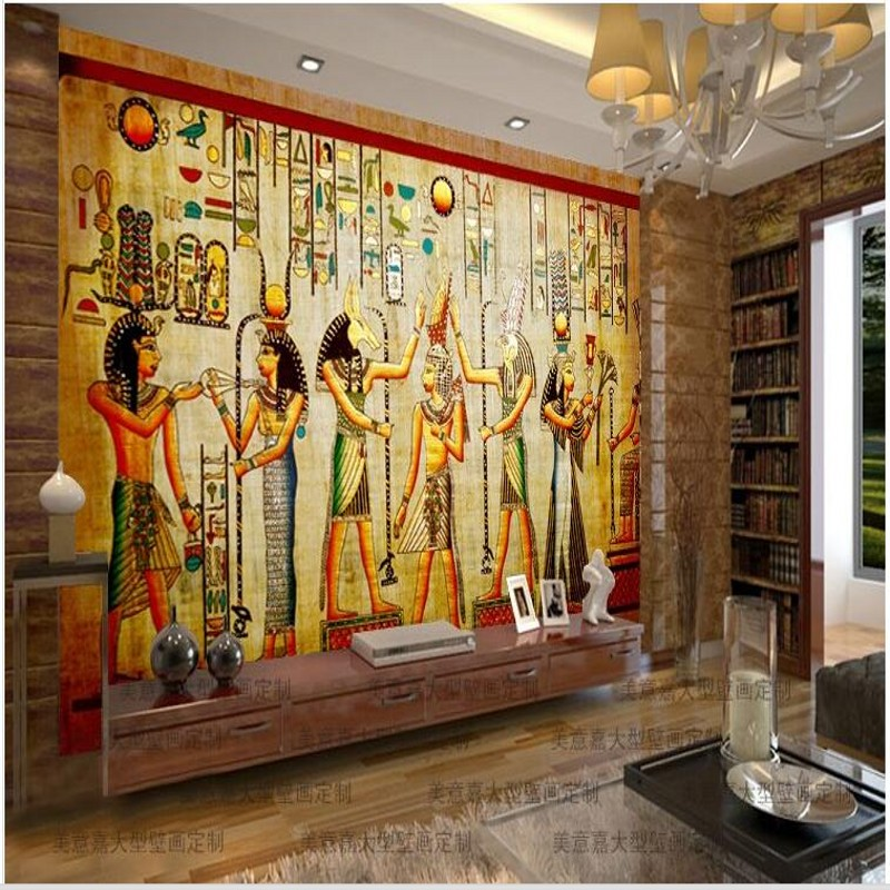 Online buy wholesale egyptian wallpaper from china for Ancient egyptian mural