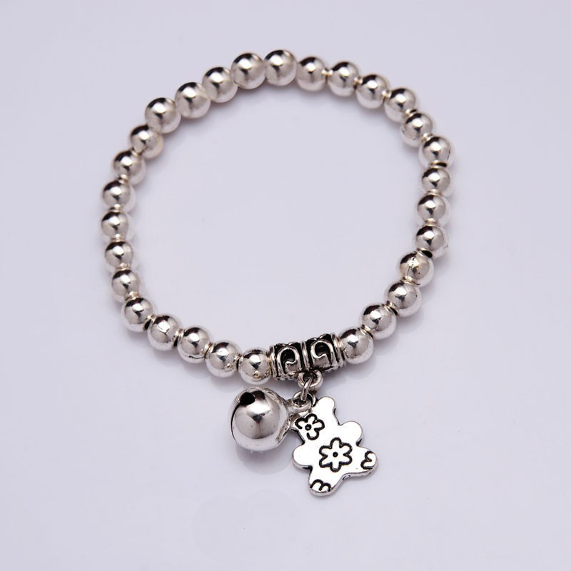 NEW Bear Bell Charm Bracelet Silver plated beads Bracelet 2018 Women Fashion jewelry Wholesale Accessories Gift(China)