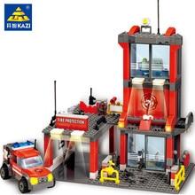 цена на KAZI 8052 City Fire Station 300pcs Building Blocks Compatible all brand city Truck Model Toys Bricks With Firefighter