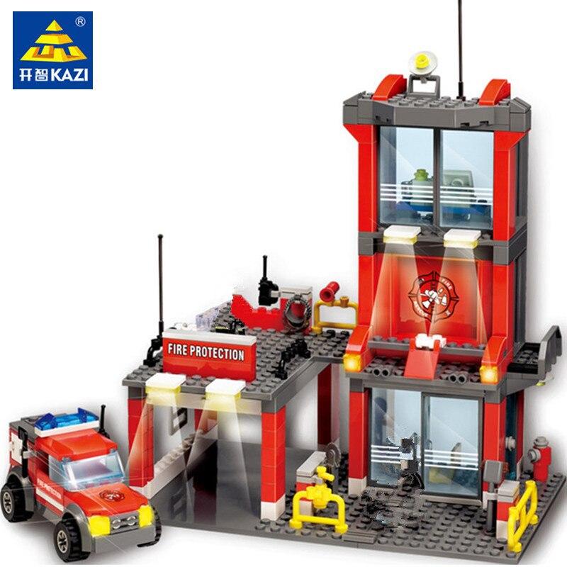 KAZI 8052 City Fire Station 300pcs Building Blocks Compatible all brand city Truck Model Toys Bricks With Firefighter