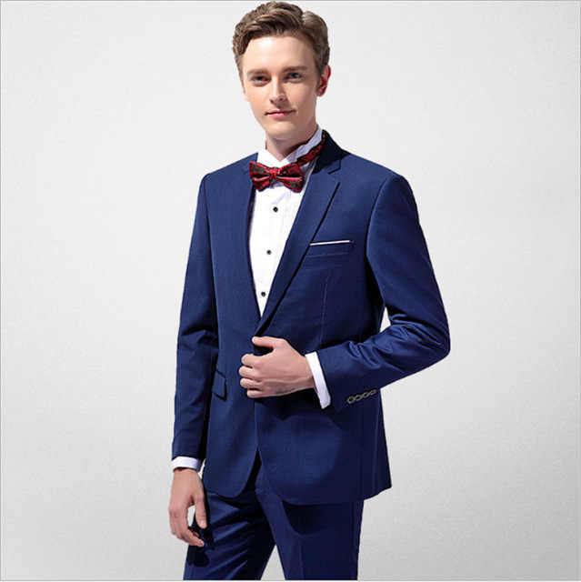 Ocean Blue Men S Two Piece Suit Jacket Pants Custom Business Men S Slim Dress Wedding Groom Dresses Groomsmen Suit Suits Aliexpress