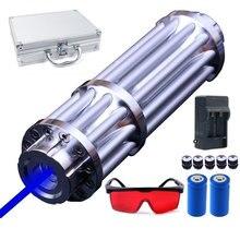 Самый мощный сжигающий лазерный факел 450нм 10000 м Фокусируемый синий лазерный указатель фонарик спичка свеча горит сигарета