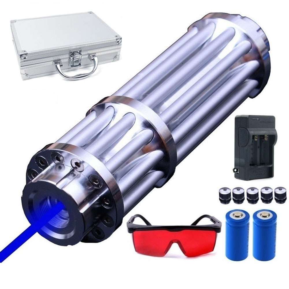 Most Powerful Burning Laser Torch 450nm 10000m Focusable Blue Laser Pointers Flashlight burn match candle lit cigarette-in Lasers from Sports & Entertainment