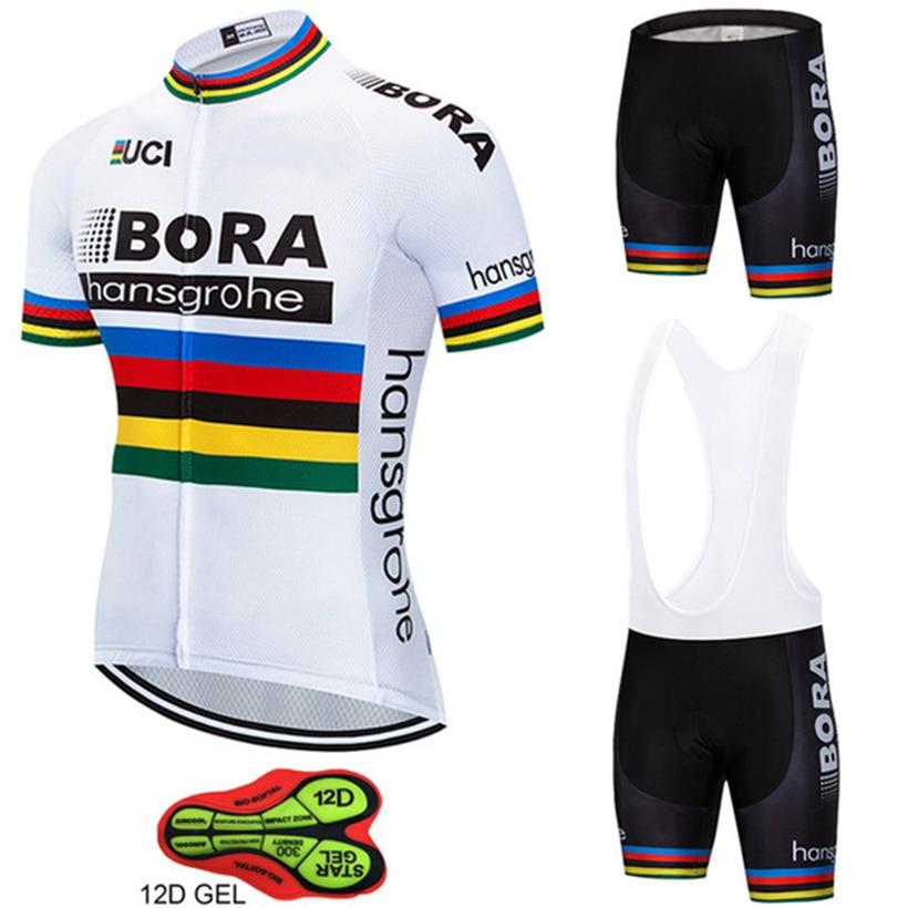 Hommes 2018 BORA Vélo Jersey Bib Manches Courtes Ensemble Ropa Ciclismo Été Cyclisme Vélo Vêtements Kits Homme Respirant Vélo Mallot
