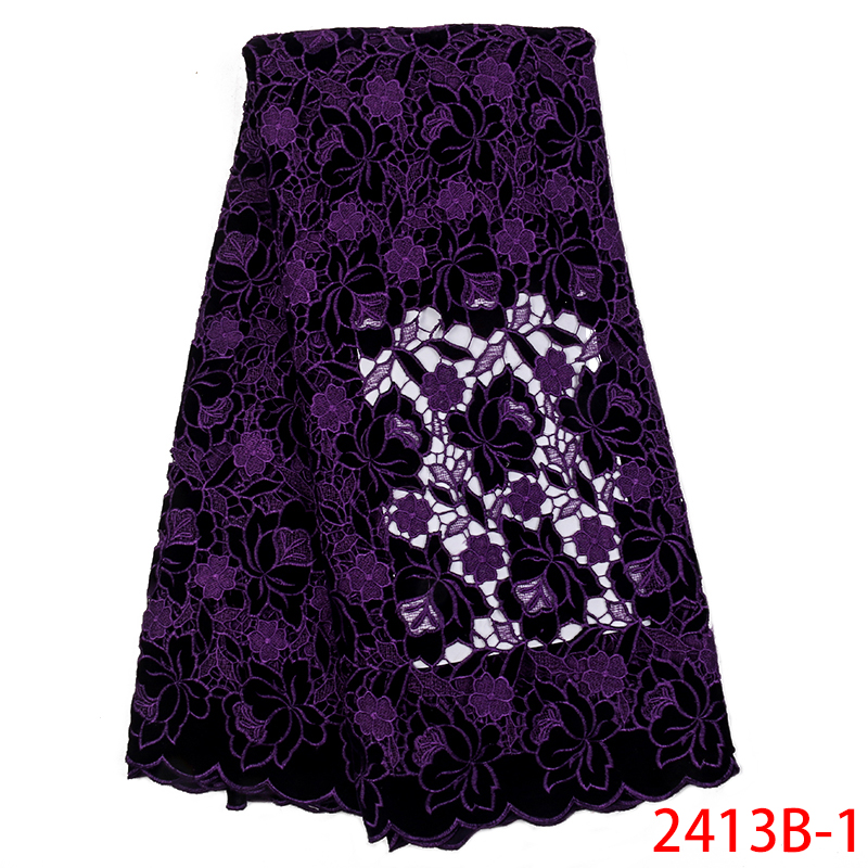 2019 High Quality Guipure Lace Fabric Best Selling Velvet Fabric Laces Nigerian French Cord Lace Fabrics KS2413B-1