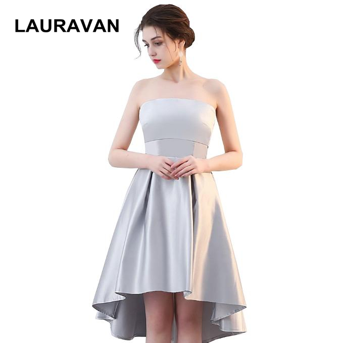 Cheap 2019 Strapless Grey Short Front Long Back Lace Up Back High Low Bridesmaid Party Dresses Autumn Ball Dress For Weddings