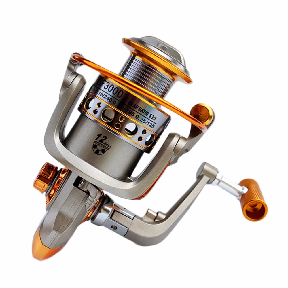 Aluminum 12BB Ball Bearing Spinning Reels Saltwater 5.2:1 Gear Ratio Boating Fishing Reel Fishing Tackle GF1000-GF6000 Russia