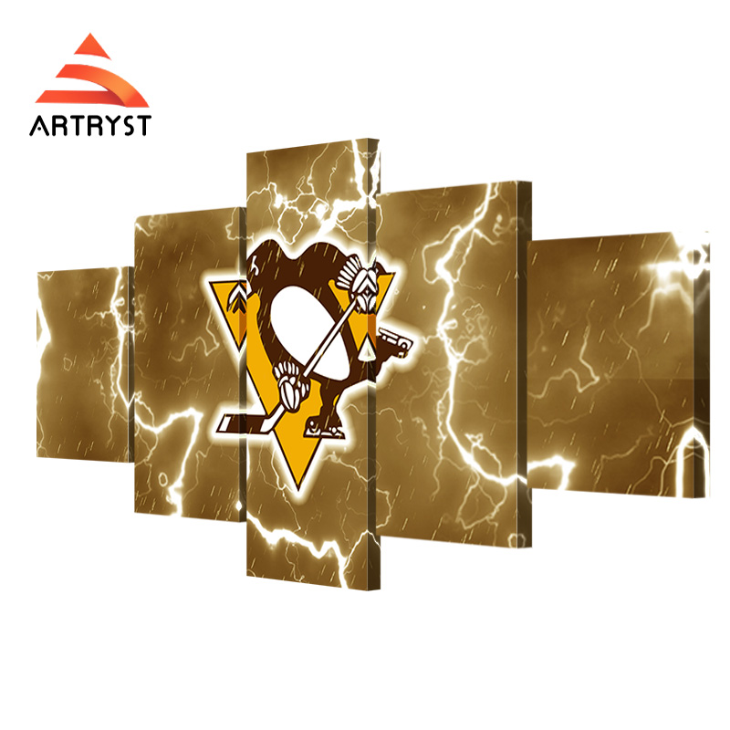 Artryst Fan Poster Modern Sport Pittsburgh Penguins Team Logo Large Canvas Painting 5 Pcst Art Wall Home Decor Print On Canvas