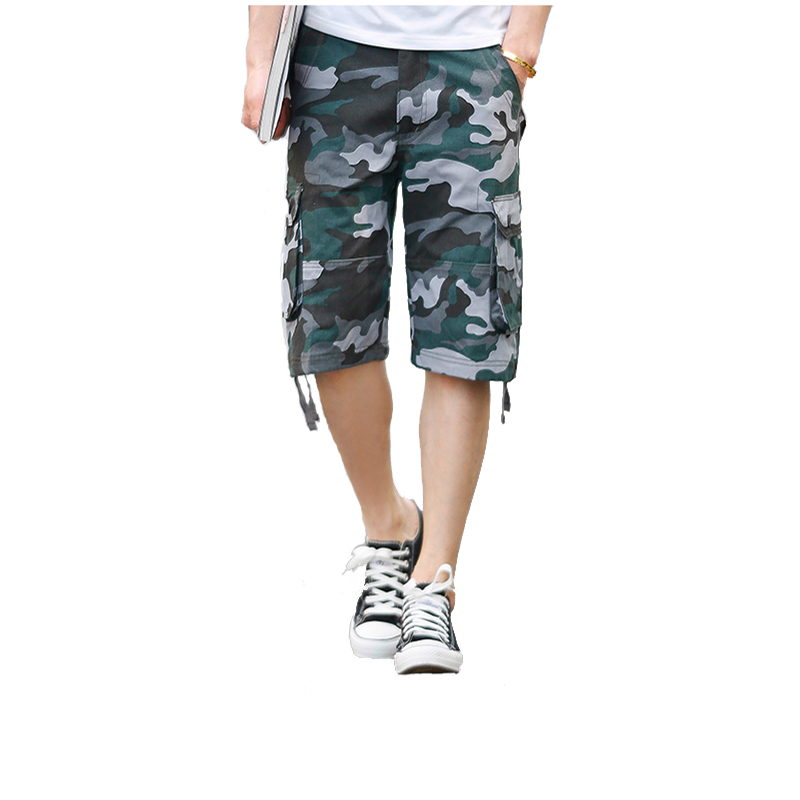 MOGU 2019 Summer Camouflag Men's Shorts Casual Loose Cotton Multi-Pocket Shorts Asian Size Plus 4 Colors For Male Shorts
