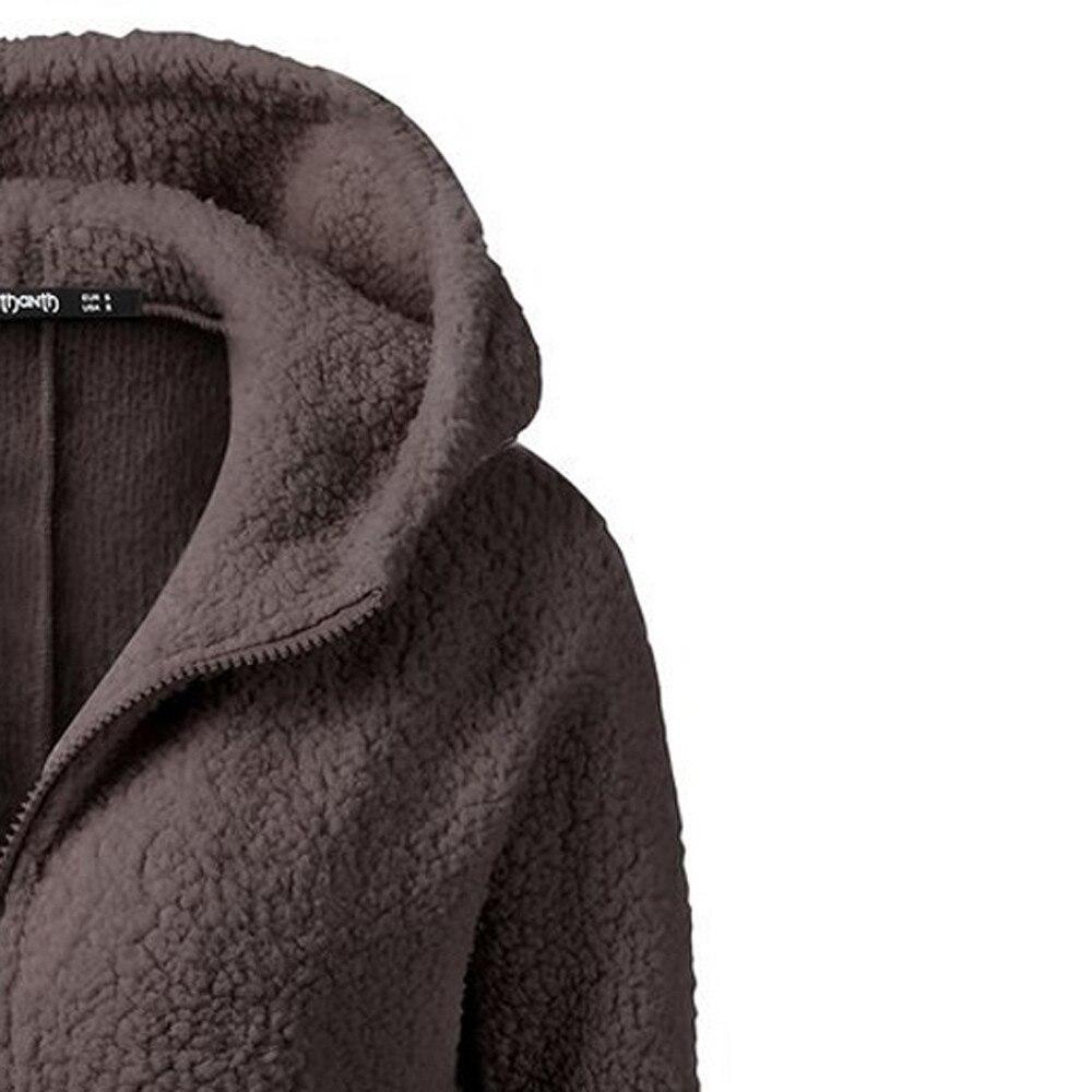HTB1uidzX6zuK1Rjy0Fpq6yEpFXaO Women Solid Color Coat Thicken Soft Fleece Winter Autumn Warm Jacket Hooded Zipper Overcoat Female Fashion Casual Outwear Coat