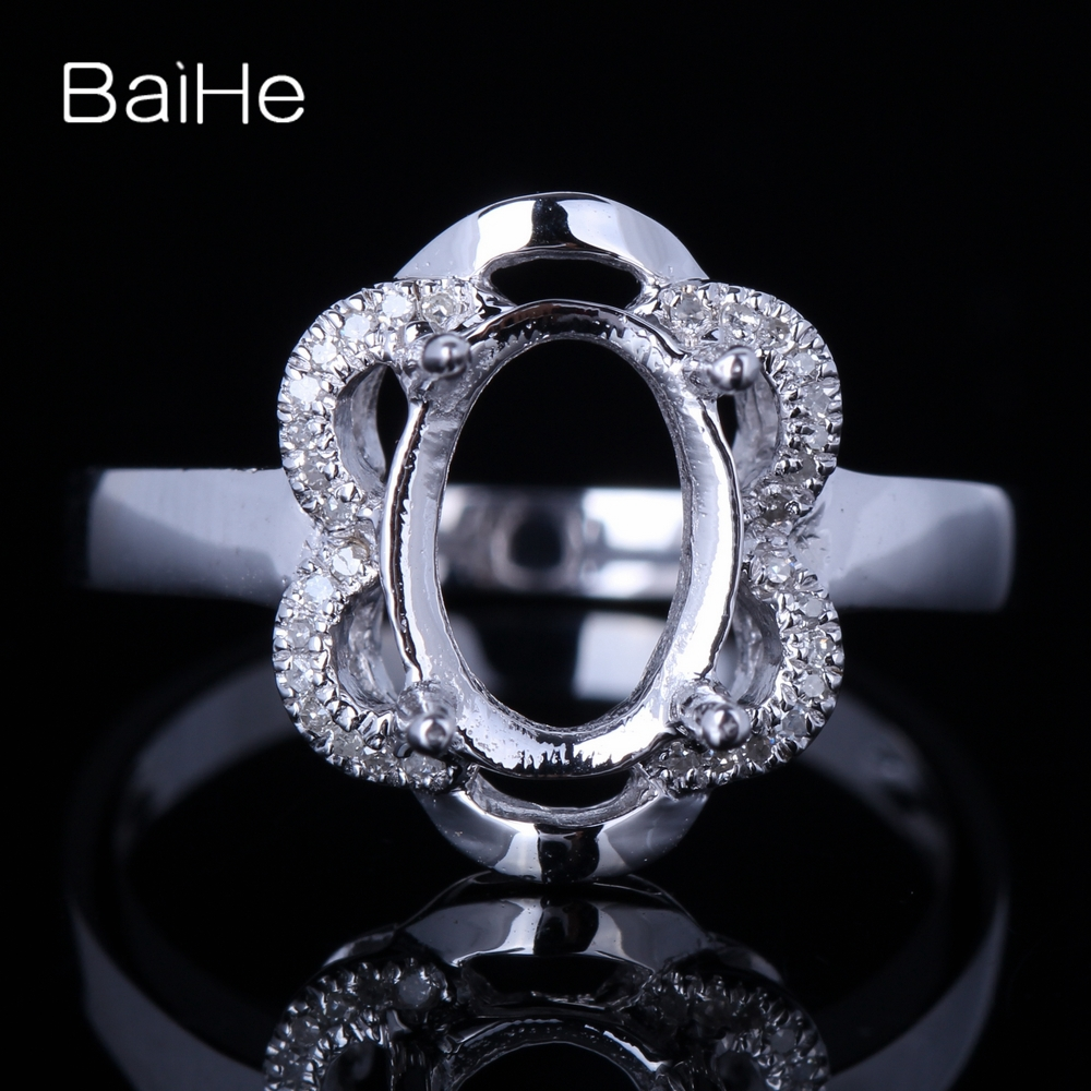 Engagement Rings No Stone: BAIHE Solid 14K White Gold About 9x7mm Oval No Main Stone