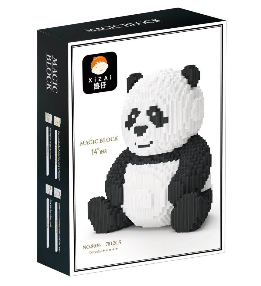 7812PCS Xizai connection Building Blocks Cute Animal Panda Building Toy Auction Figures Brinquedos for Children Gift 8036
