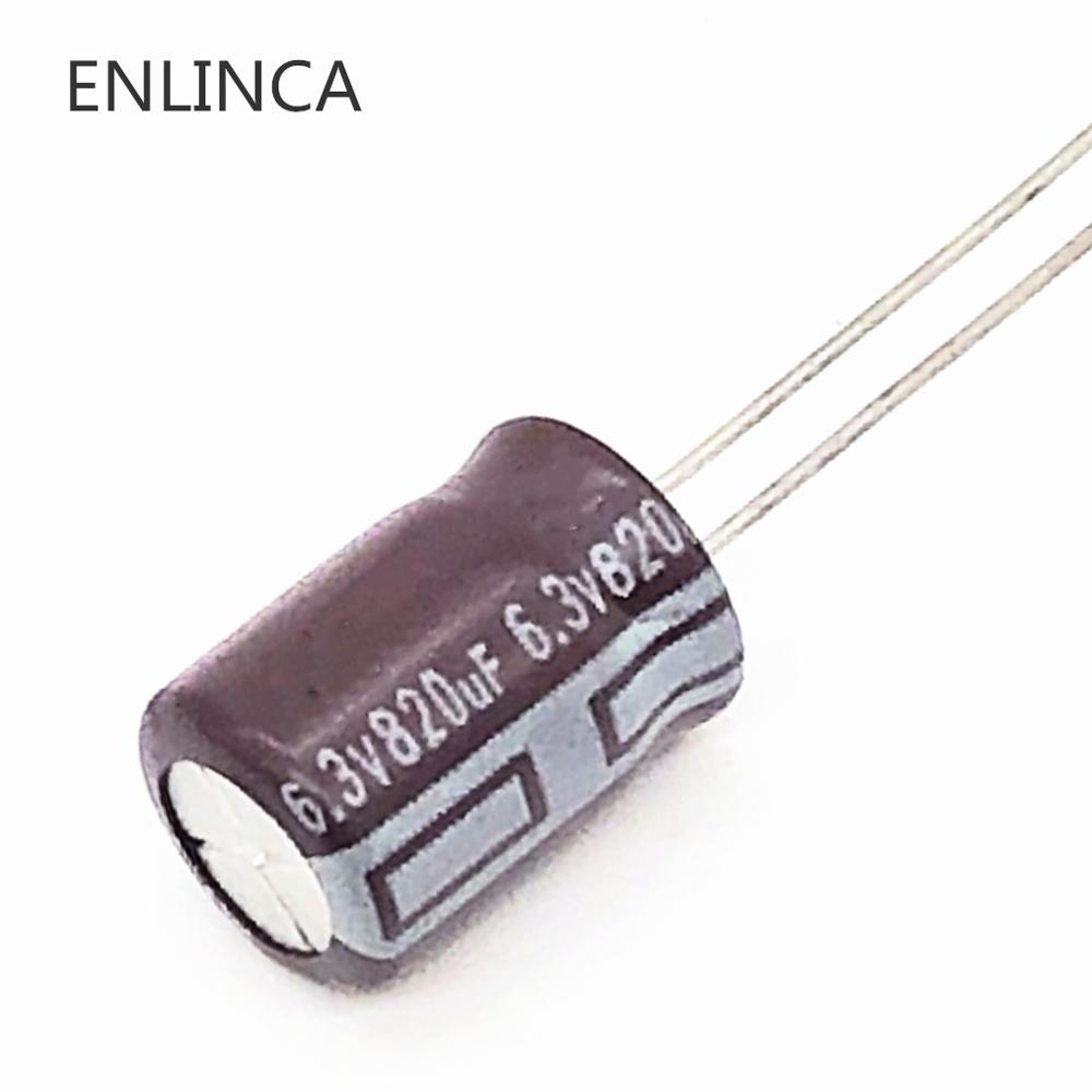 12pcs/lot 6.3V 820UF 8*12 Low ESR / Impedance High Frequency Aluminum Electrolytic Capacitor 820UF 6.3V820UF 20%