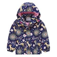 Waterproof Fitted Waist Baby Girls Jackets Children Outerwear Warm Child Coat Animal Sika Deer Print Polar Fleece 3-12 Years Old цены