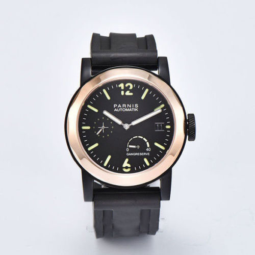 Parnis 44mm black dial PVD case gold bezel Sapphire Glass ST2530 Automatic movement Men's watch 722 цена и фото