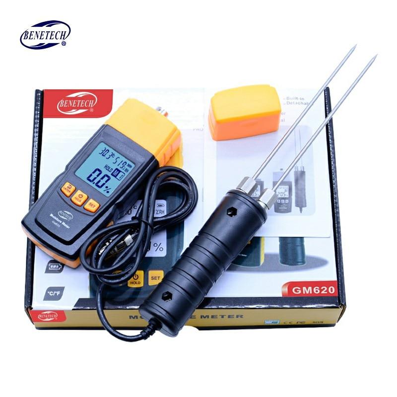 BENETECH GM620 numérique LCD affichage bois humidimètre 2 ~ 70% testeur d'humidité double sonde d'essai bois détecteur d'humidité portable