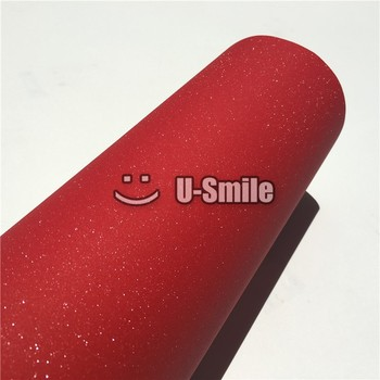 Glitter Red Sandy Sparkle Vinyl Film Decal Bubble Free For Phone Laptop Ipad Skin Cover Size:1.52*30M