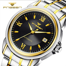 цена FNGEEN Luxury Wrist Watch Men Automatic mechanical Hollow Clock stainless steel Strap Mens Watches Date Business Quartz онлайн в 2017 году