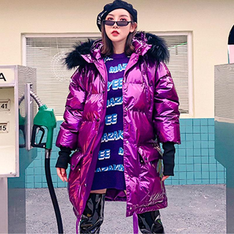 En Chaud Lumineux Argent Métal Vers Manteaux Le Fourrure De Plus Lâche 33 Silver Taille La D'hiver Col Veste Bas Rembourré purple Femelle Réel Violet Coton À Capuchon P1wqtxA