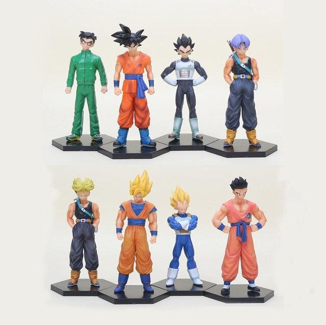 8 pçs/set Dragonball Figuras de Ação De Dragon Ball Z Super Saiyan Goku Vegeta Trunks Yamcha Figura PVC set Collectible Modelo brinquedo