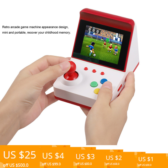 3″ Screen Retro Miniature Arcade Game Console Handheld Game Machine Portable Joysticks 360 Classic Games Present Gift for Kids
