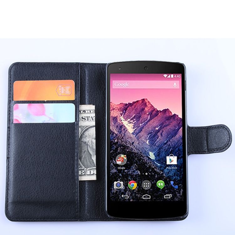 For Google nexus 5 case cover ,New 2015 fashion luxury filp Lychee leather wallet stand for Google nexus 5 phone case cover