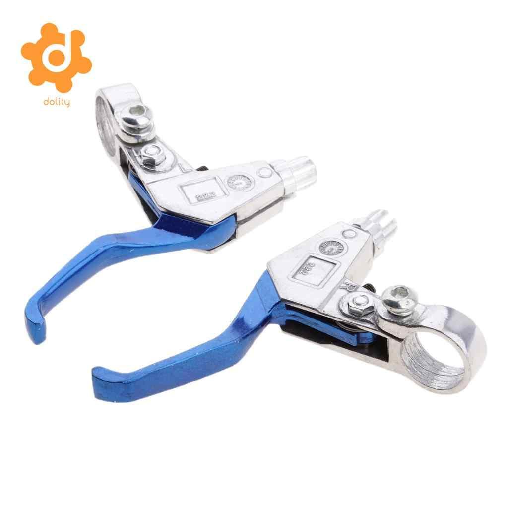 Ensemble de 2 leviers de frein à main pour moteur 49CC Mini vélo de poche 2 temps-bleu